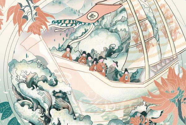 Navio do tesouro chinês de Zheng He explora os mares