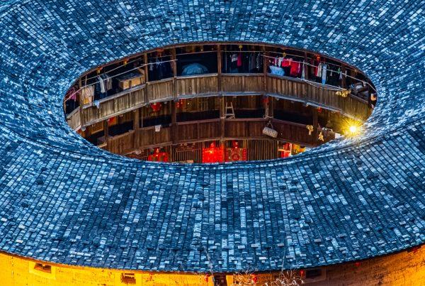 Tulou visto de cima, arquitetura chinesa Hakka