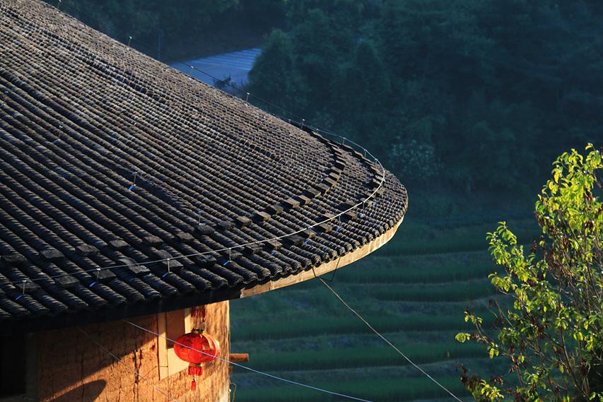 telhado de Tulou, arquitetura chinesa Hakka