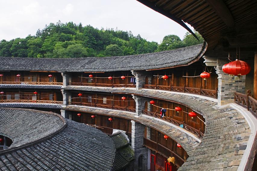 interior de Tulou, arquitetura chinesa Hakka