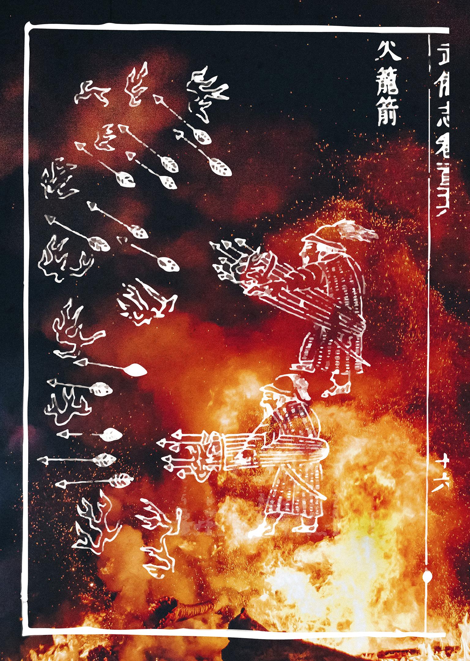 火藥 flechas de fogo retratadas no registro militar chines, Wubei Zhi