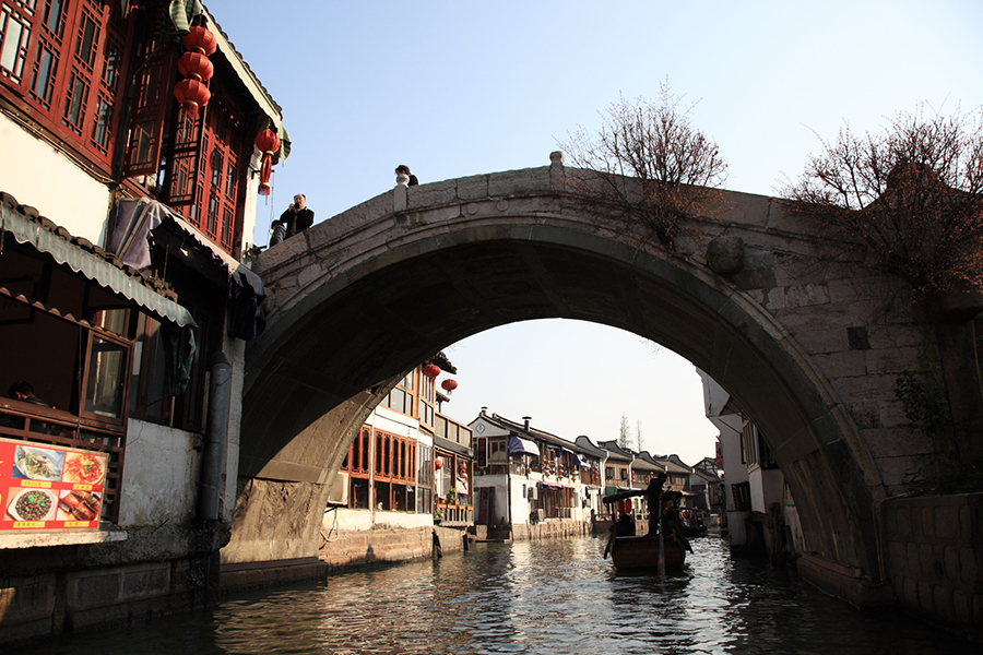 Ponte em canal de Zhujiajiao, Jiangnan