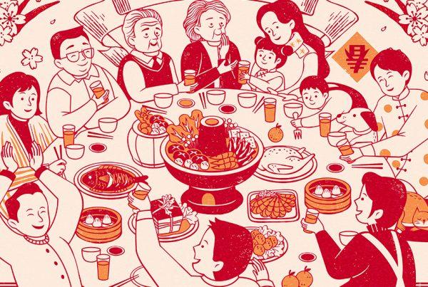 Celebração na mesa de jantar chinesa