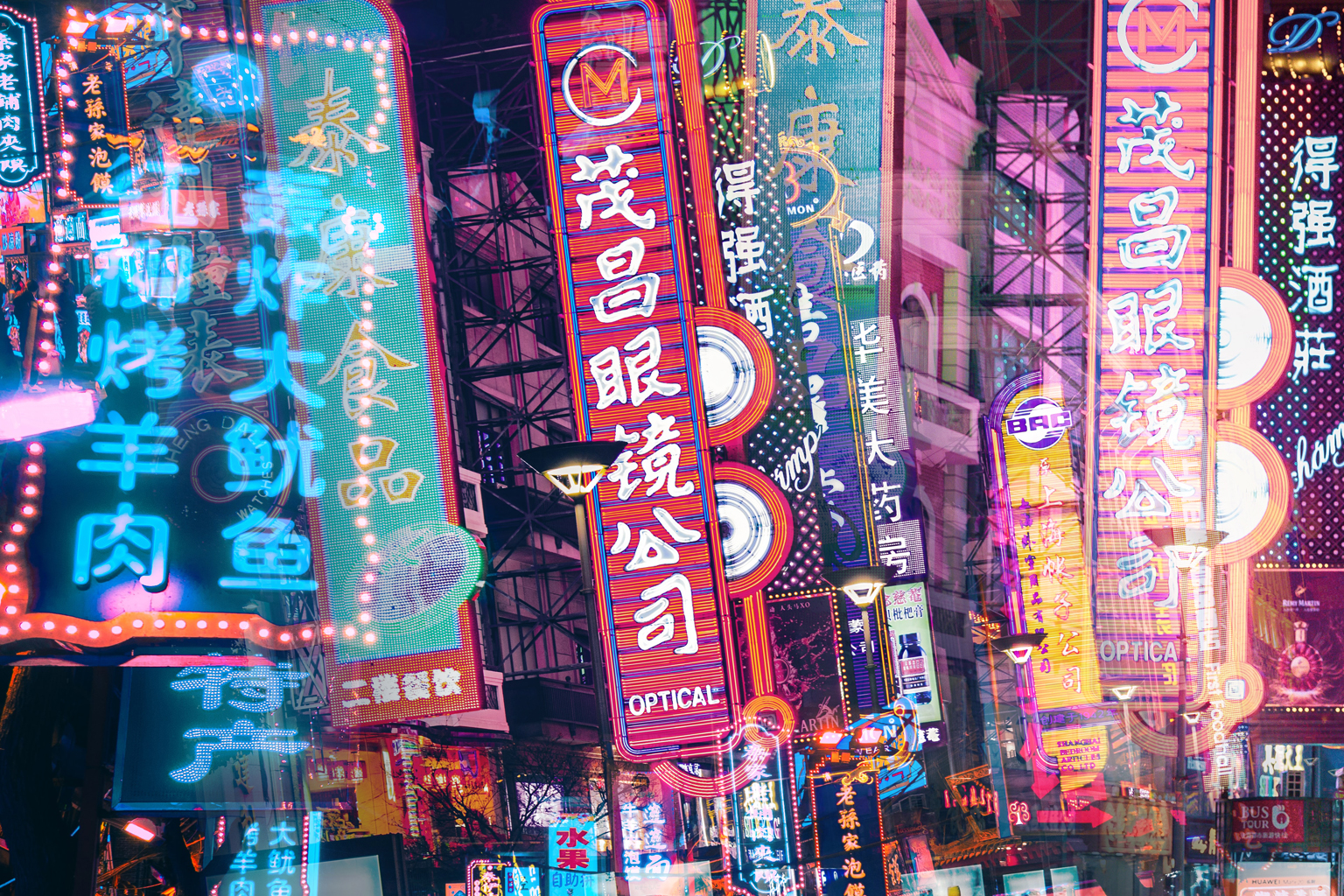 Infinidade de placas em chinês