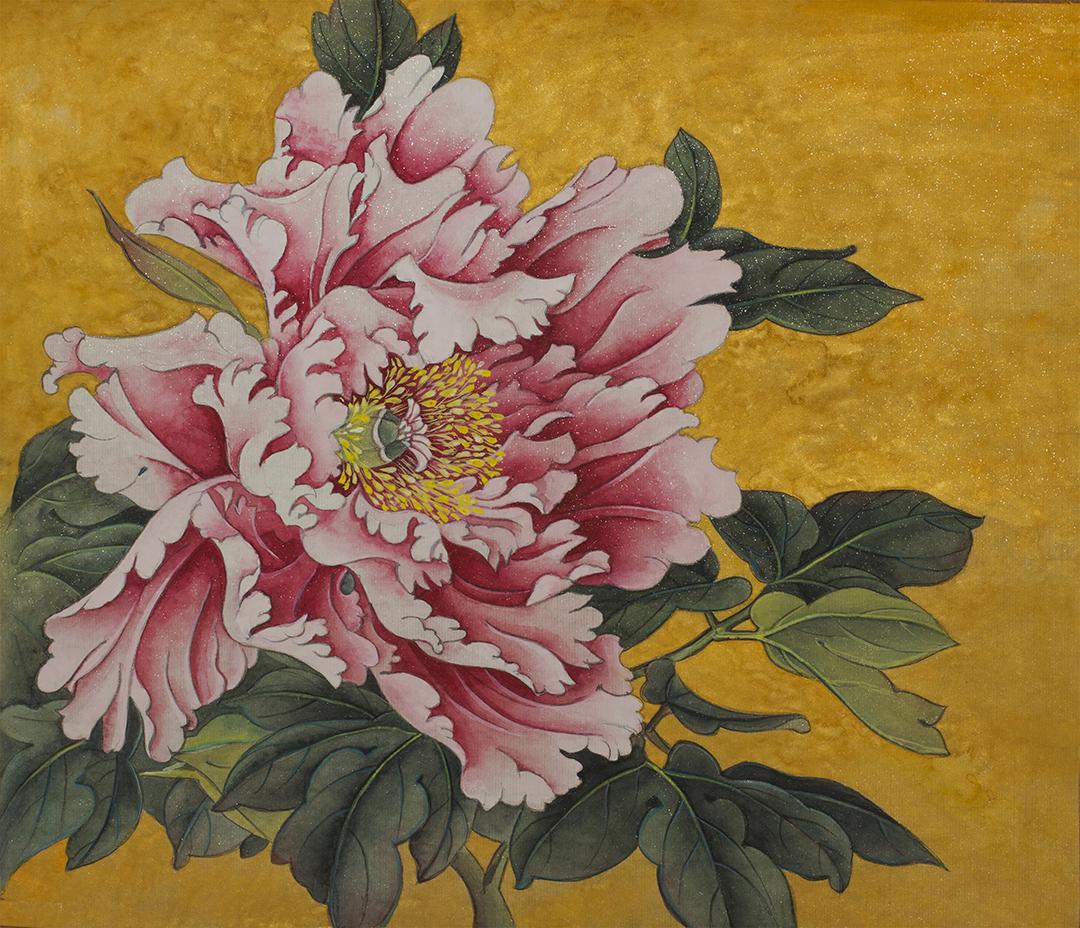 Pintura de Peônia com fundo dourado
